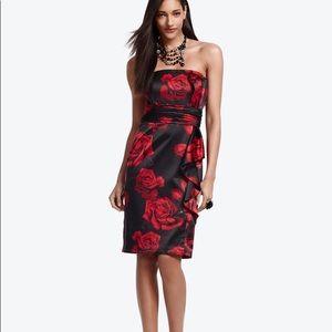 WHBM Rose Print Satin Dress Holiday Party